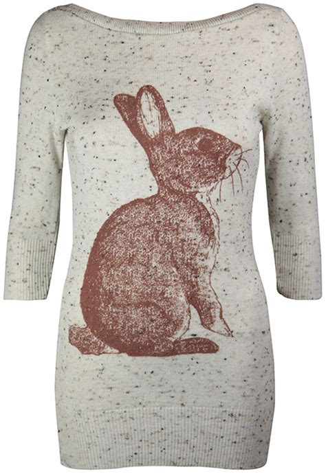 Best Seller Rabbit Top Bl4869 new womens marl knit jumper bunny rabbit print knitted top size 8 14 ebay