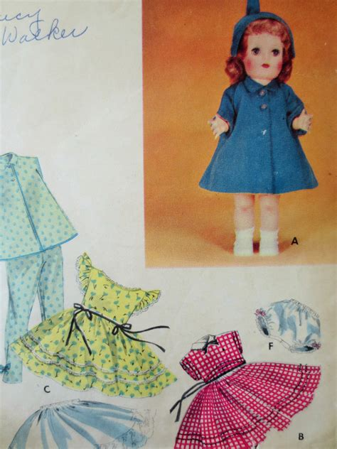 vintage butterick 7563 sewing pattern 1950s doll clothes