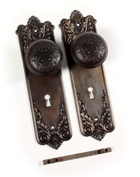 Antique Door Knob Backplates by Antique P F Corbin Lorraine Door Knob Sets With