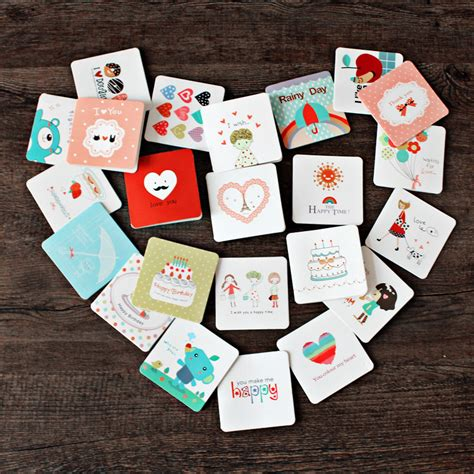 Mini Greeting Card Set 10pcs set korea creative mini greeting card birthday