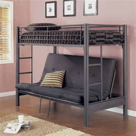 bunk bed with futon futon metal bunk bed matte black
