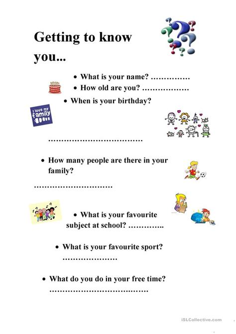 Getting To You Worksheet by Getting To You Worksheet Free Esl Printable