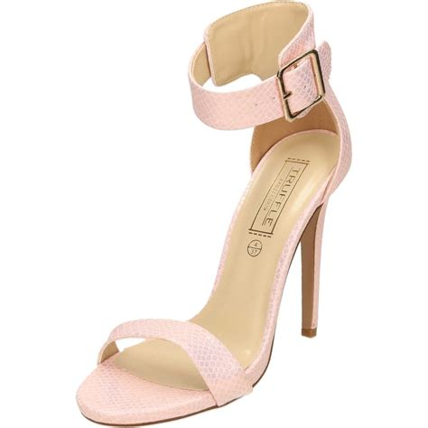 pink high heel sandals truffle collection ankle stiletto high heel peep toe