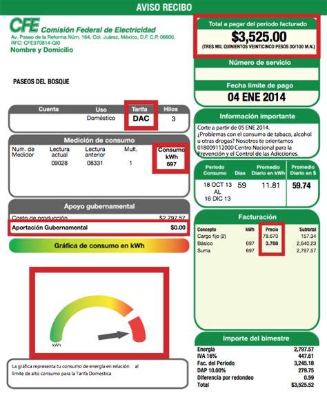 tencia 2015 imprimir recibo df explicaci 243 n de recibo de cfe con tarifa dac