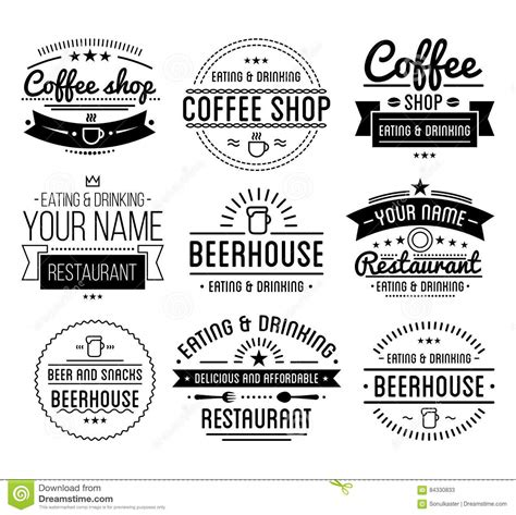 Vintage Logo Coffee Shop Template Restaurant Label Cartoon Vector Cartoondealer Com 77342037 Merchandise Return Label Template