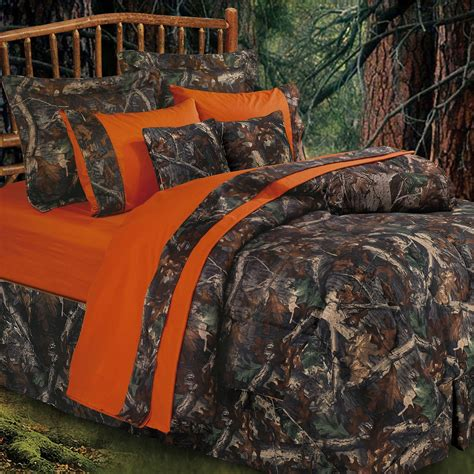 hunting bedding oak camo camouflage rustic comforter bed set