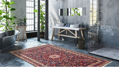 modern bathroom  featuring persian oriental rugs