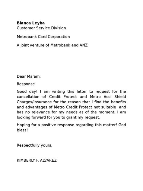 Supplementary Credit Card Cancellation Letter letter of cancellation