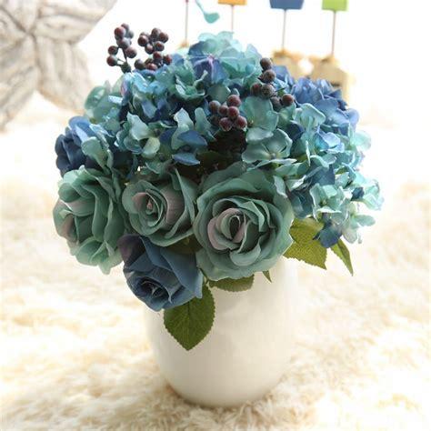 aliexpress buy 6pcs silk artificial flower iris 1 bunch 6pcs artificial flowers blue silk flower bouquet for home decoration hydrangea