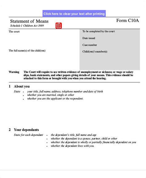statement form exles