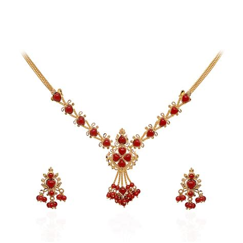 coral bead earrings coral pearl coral gold necklace with
