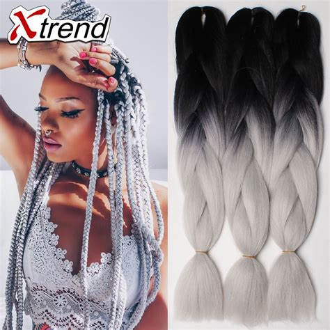 kanekolan hair black white grey kanekalon xpression braiding hair for box braids 24 100g