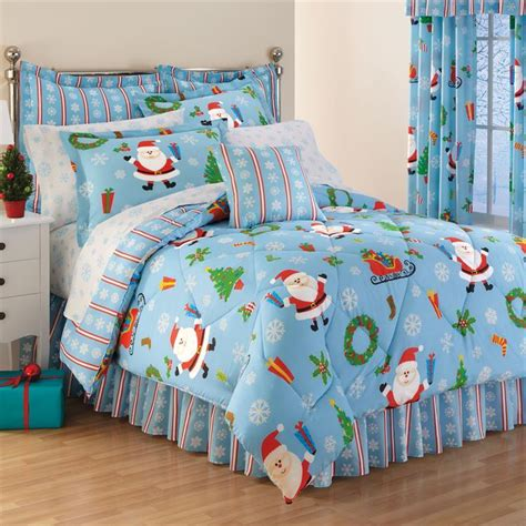 8 piece king santa snowflake christmas comforter sheets