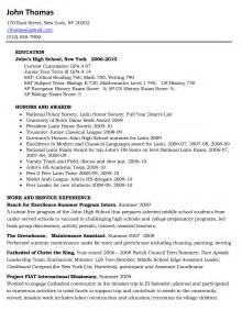 College Resume Example College Resume Example For High School Seniors Viewing