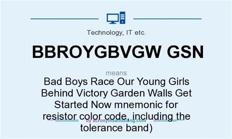 resistor color coding mnemonic what does bbroygbvgw gsn definition of bbroygbvgw gsn bbroygbvgw gsn stands for bad