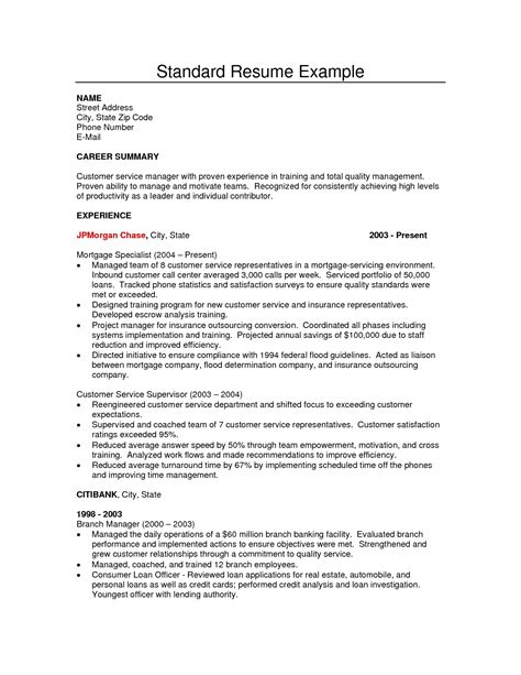 Standard Resume Template by Standard Resume Exle Letters Free Sle Letters