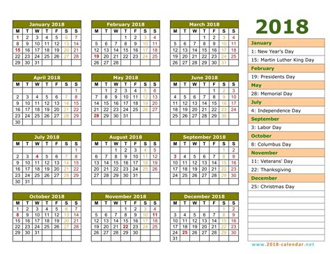 Free Printable 2018 Calendar With Holidays Printable 2018 Calendar