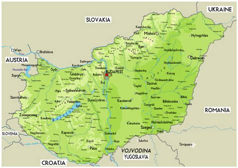 physical map of hungary large physical map of hungary