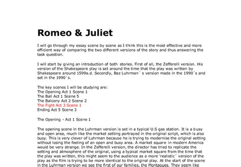 compare romeo and juliet in romeo and juliet chart comparing two versions of romeo juliet zefferelli and