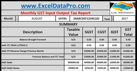 monthly gst input output tax report excel template exceldatapro