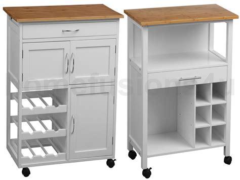 Storage Drawers On Wheels White Framed Kitchen Trolley Island Bamboo Wood Worktop