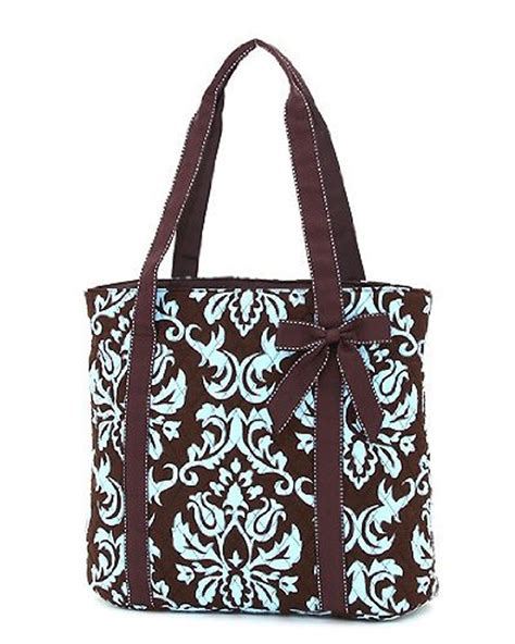 Quilted Bag Pattern by Belvah Brown Turquoise Quilted Damask Print Pattern Bow