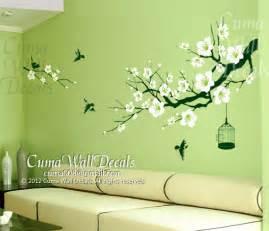 Full Wall Mural Decals cherry blossom wall decal birds wall decals flower vinyl