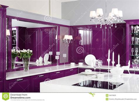 stylish furniture modern purple kitchen with stylish furniture stock photo