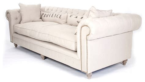Alaine French Country Burlap Linen Chesterfield Nailhead Country Sectional Sofas