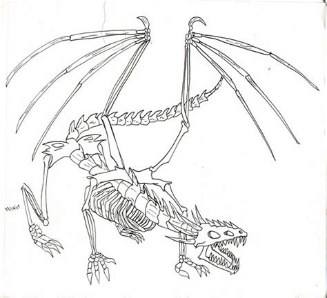 skeleton dragon coloring page pouncing bone dragon by daowg on deviantart