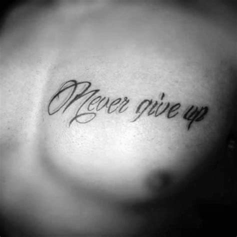 tattoo lettering never give up 60 never give up tattoos for men phrase design ideas