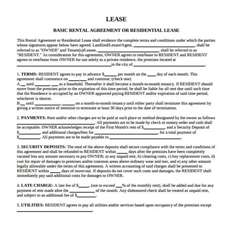 blank lease template sle blank rental agreement 9 free documents in pdf