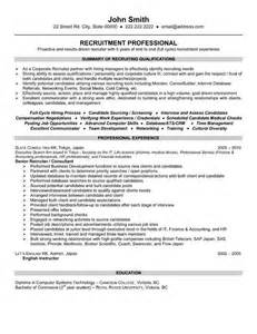 Personnel Recruiter Sle Resume by Executive Recruiter Resume Hr Recruiter Resume Sles Resumes Resume