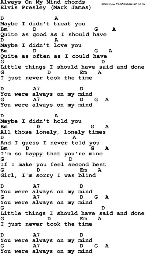 all those things we never said us edition books song lyrics with guitar chords for always on my mind