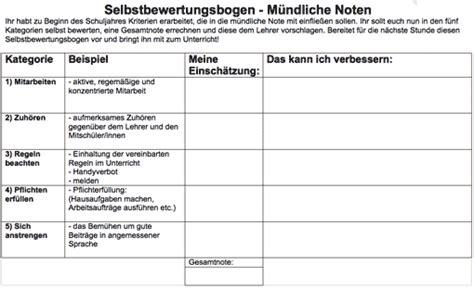 Leistungsbeurteilung Praktikum Vorlage m 252 ndliche noten bogen zur selbsteinsch 228 tzung lehrerfreund