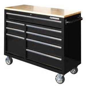 husky work bench husky 46 in 8 drawer mobile workbench with 1 in solid
