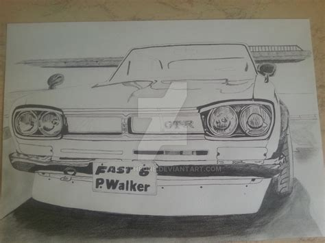 paul walkers nissan skyline drawing in memory s of paul walker nissan gt r 2000 by ku5htheone