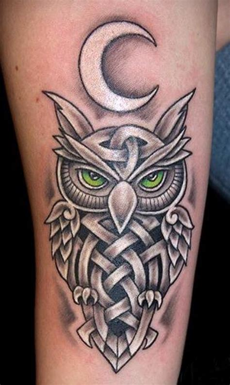 black and white owl tattoo designs black ink celtic owl design for half sleeve