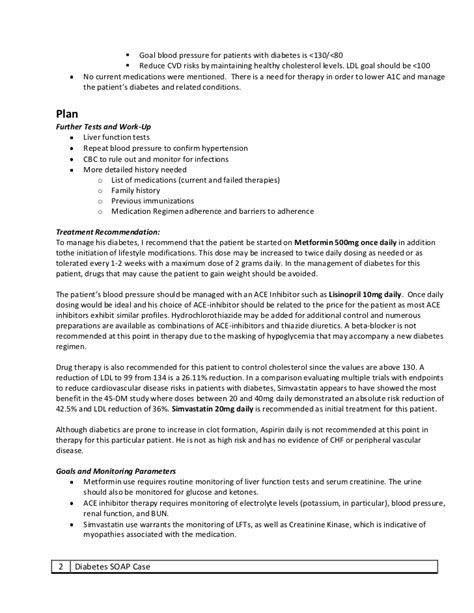 Diabetes Soap Note Exercise Cardiology Soap Note Template