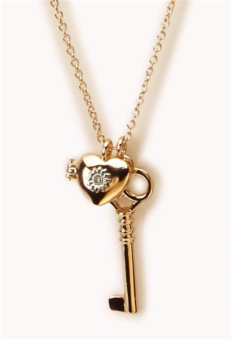 forever 21 key pendant necklace in gold lyst