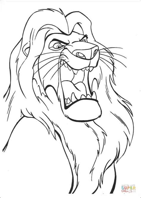 roaring lion coloring page musafa is roaring coloring page free printable coloring