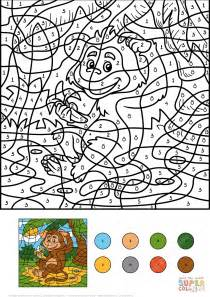 color by numbers animals coloring pages monkey animal with a banana color by number free
