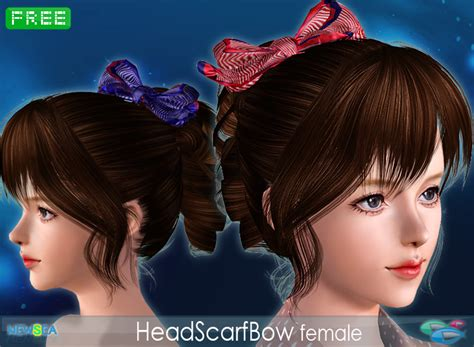 sims 3 custom content haie bow headscarfbow female hair accessory by newsea free