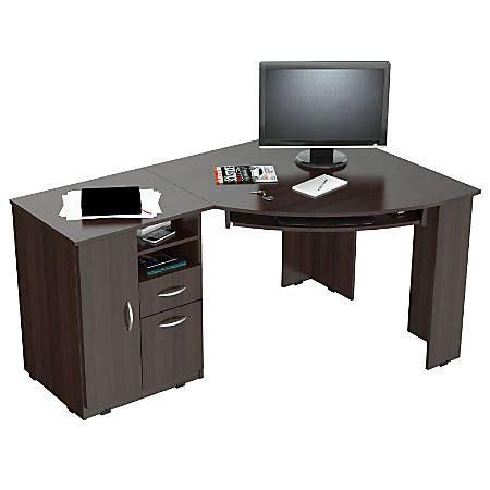 office depot espresso desk inval corner computer desk espresso wengue by office depot