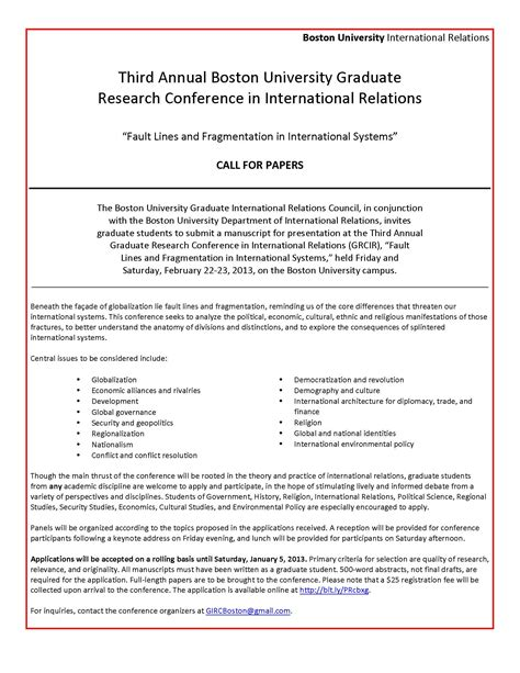 international research paper format call for papers graduate research conference in
