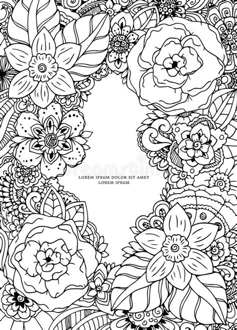 deb s doodle do coloring book two books vector illustration floral frame doodle drawing