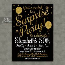 surprise party invitations printable black amp gold surprise
