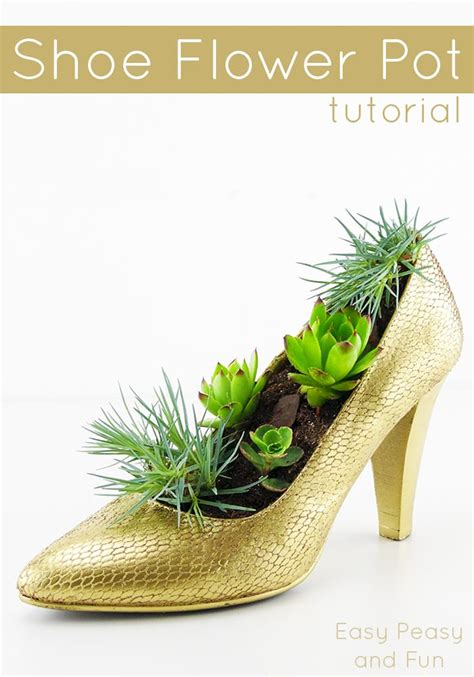 shoe flower pot shoe crafts easy peasy  fun