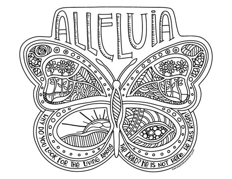 alleluia butterfly coloring page poster illustrated