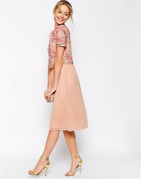 Frill Top Pastel lyst frock and frill 2 in 1 embellished top midi skater